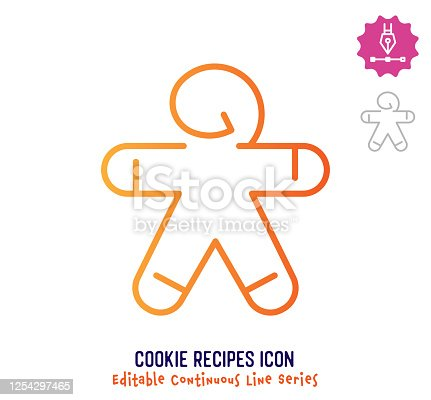 istock Cookie Recipes Continuous Line Editable Stroke Line 1254297465