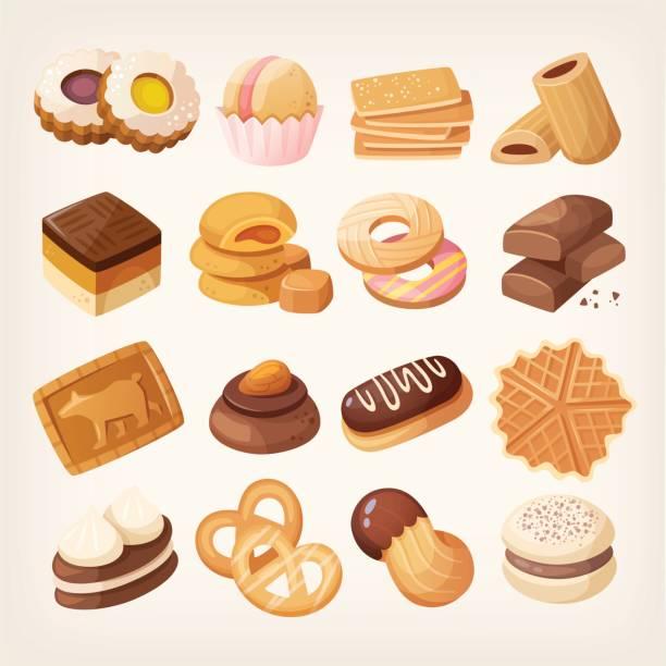 kekse und gebäck icons set - tiramisu stock-grafiken, -clipart, -cartoons und -symbole