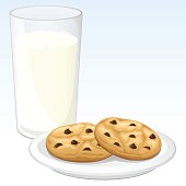 Vector illustration of cookies and milk, against a blue gradient background. Cookies, milk, and background are each on their own layer, each easily separated from the others in a program like Illustrator, etc. ALSO, included are .jpg and .png images both with AND without the background (the .png with a transparent background). Illustration uses linear gradients and transparencies. Both .ai and AI10-compatible .eps formats are included, along with high-res .jpg's and high-res .png's.
