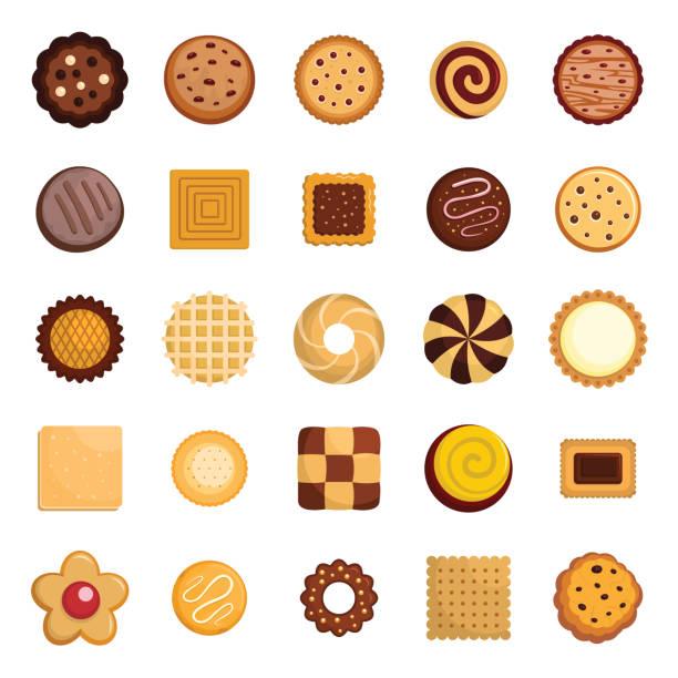 Cookies biscuit icons set, flat style Cookies biscuit icons set. Flat illustration of 25 cookies biscuit vector icons for web cookie stock illustrations