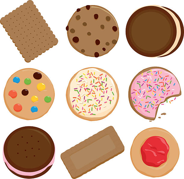 stockillustraties, clipart, cartoons en iconen met cookies collection - suikerglazuur