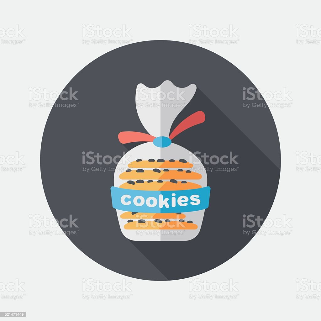 cookies flat icon with long shadow,eps10 vector art illustration