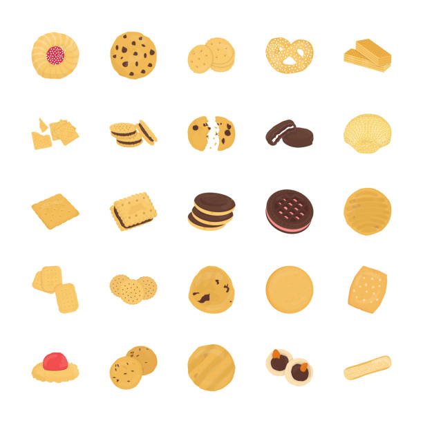 cookies flach vector icons set - keks stock-grafiken, -clipart, -cartoons und -symbole