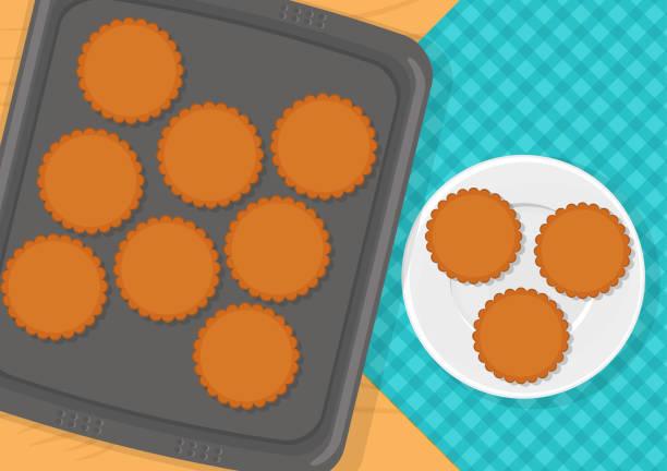 bildbanksillustrationer, clip art samt tecknat material och ikoner med kakor på bakplåten - bakplåt