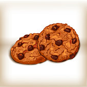 Cookies front and side views. Sweet pastry vector illustration. Realistic design of food. Cookies realistic illustration.