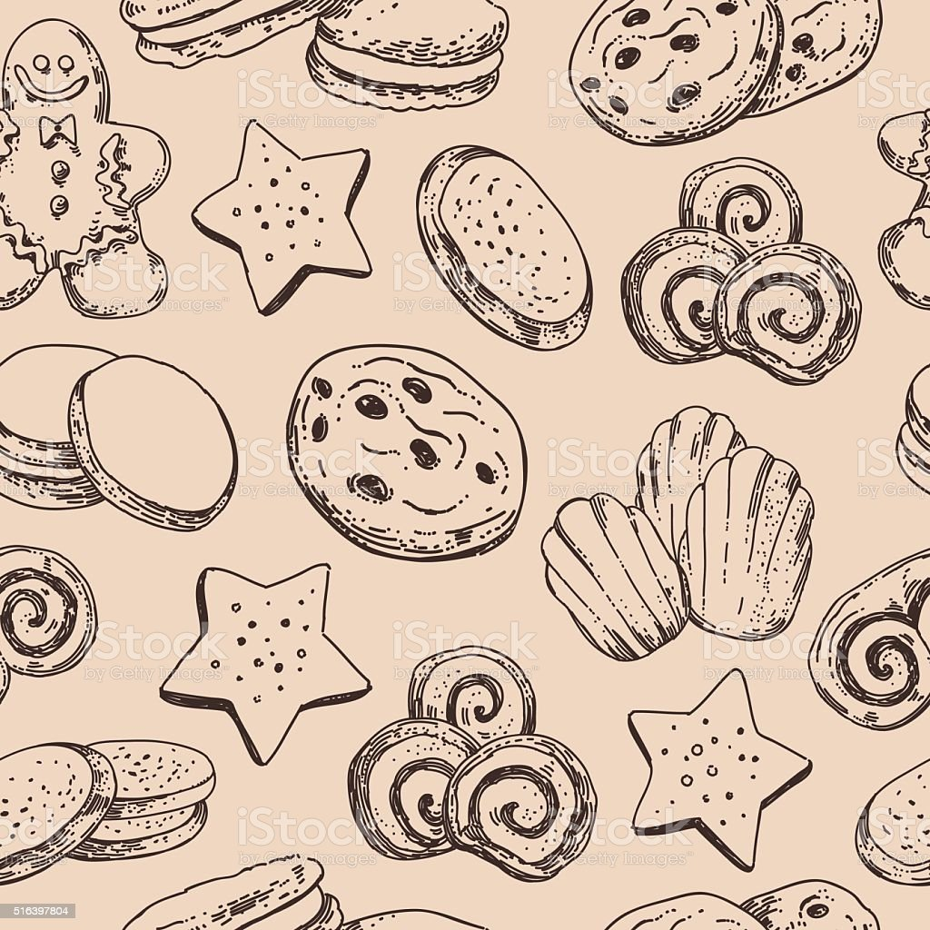 Cookies seamless background. Vector pattern with sweet bakery vector art illustration