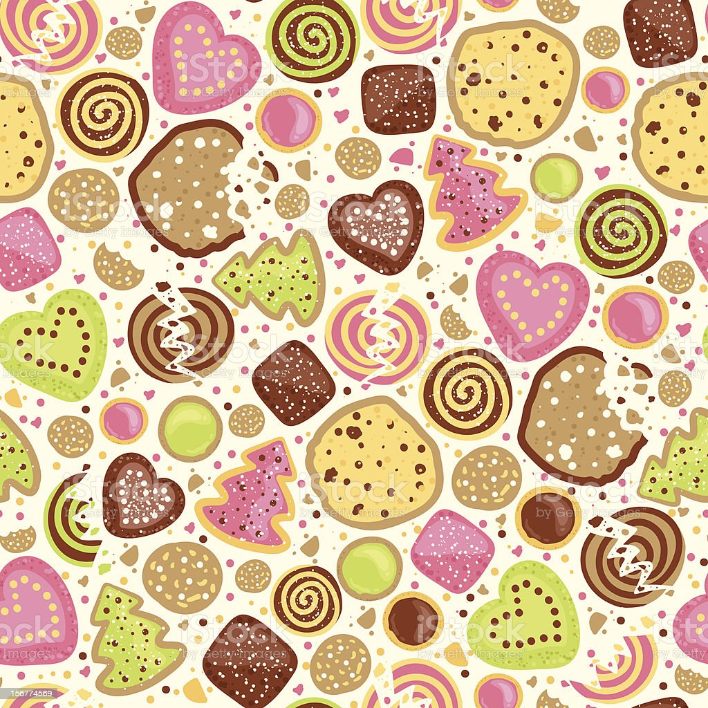 Cookies Seamless Pattern Background royalty-free stock vector art