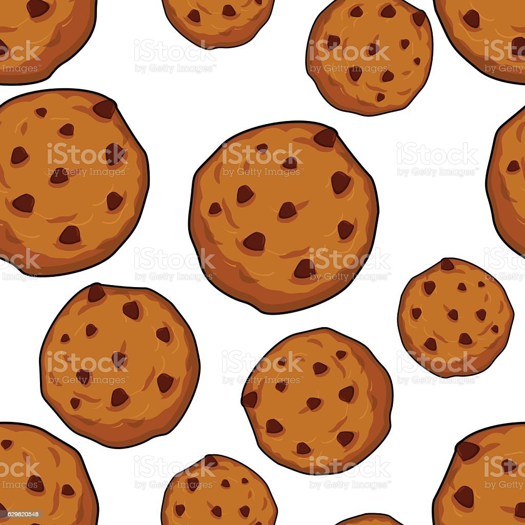 Cookies seamless pattern. pastry background. Food ornament. Swee vector art illustration