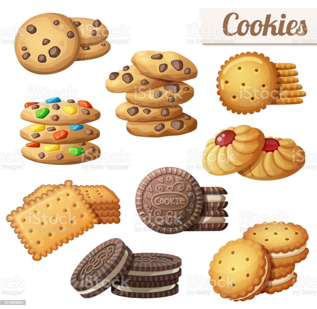 Cookies. Set of cartoon vector food icons vector art illustration