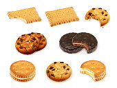 Cookies vector set, isolated on white background