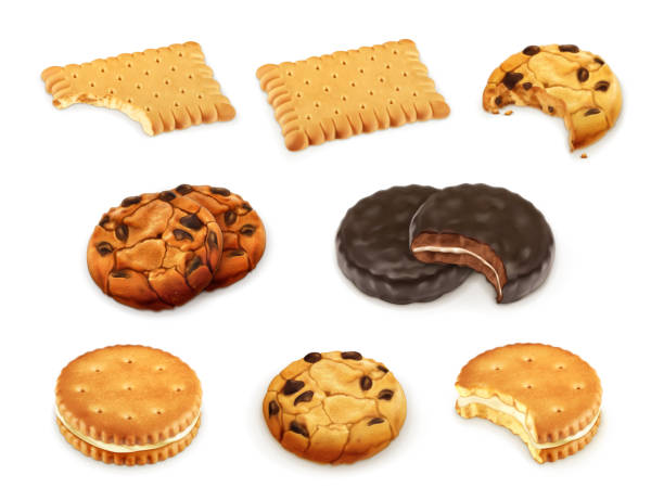 cookies vektor-set - keks stock-grafiken, -clipart, -cartoons und -symbole