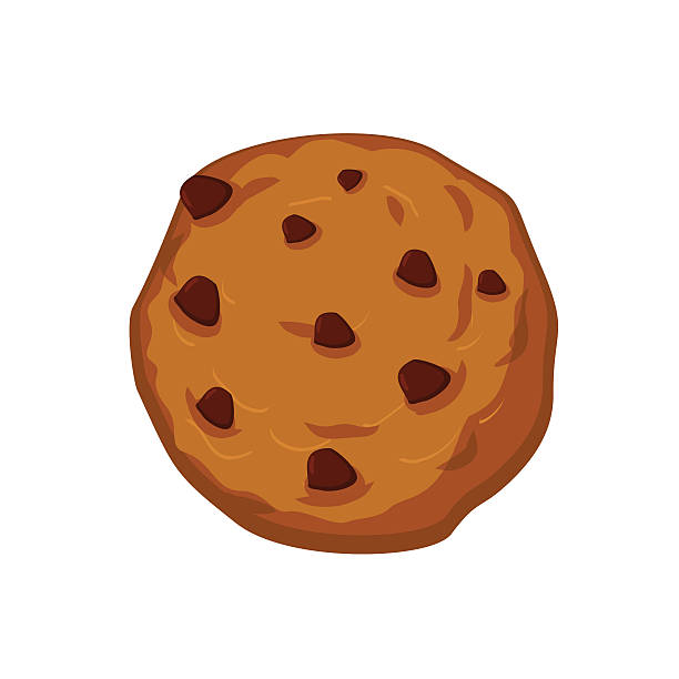 cookies with chocolate drops isolated. sweets on white backgroun - rosinenplätzchen stock-grafiken, -clipart, -cartoons und -symbole