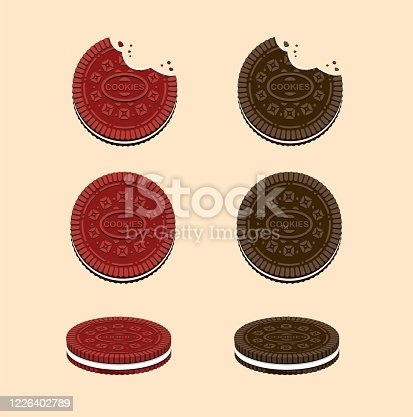 Cookies with cream in Chocolate and Red Velvet flavour. snack collection icon set in cartoon flat illustration vectorwith cream milk
