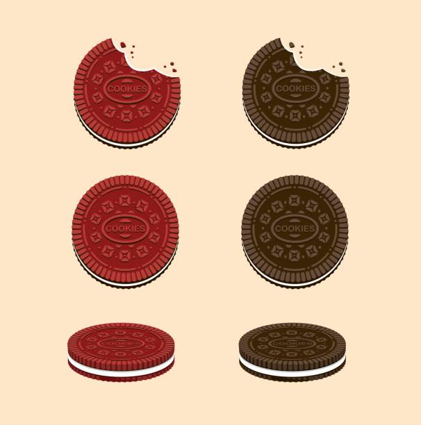 Cookies with cream in Chocolate and Red Velvet flavour. snack collection icon set in cartoon flat illustration vectorwith cream milk Cookies with cream in Chocolate and Red Velvet flavour. snack collection icon set in cartoon flat illustration vectorwith cream milk stuffed stock illustrations