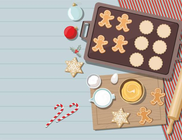 illustrazioni stock, clip art, cartoni animati e icone di tendenza di biscotti con ingredienti per cucinare la cottura natalizia. zucchero, uova e spezie sul tavolo della cucina, vista dall'alto. - christmas table