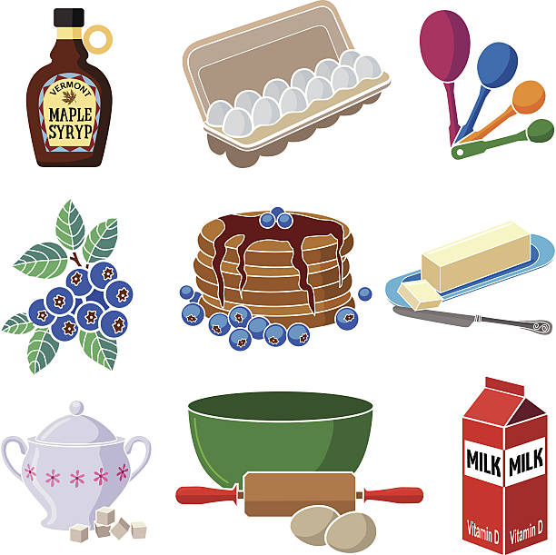 cooking a pancake breakfast - mixing bowl stock illustrations, clip art, cartoons, & icons