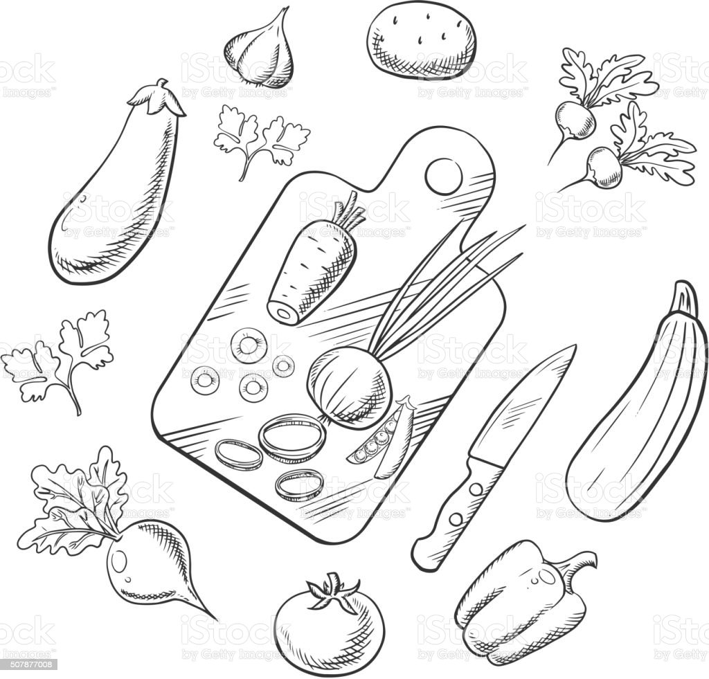 Cooking a vegetable salad, sketch icons vector art illustration
