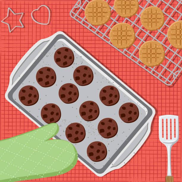 bildbanksillustrationer, clip art samt tecknat material och ikoner med matlagning och bakning från ovan - bakplåt