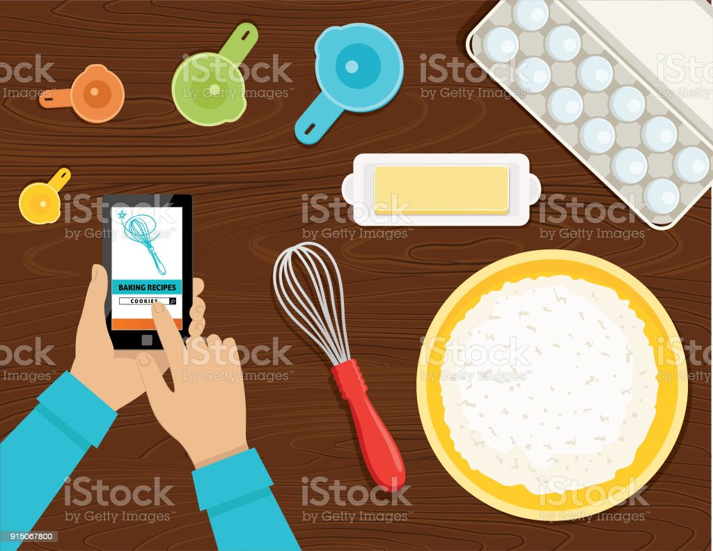 Cooking and Baking From Above vector art illustration