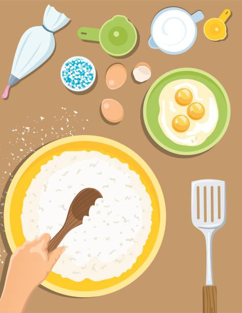 kochen und backen von oben - mehl stock-grafiken, -clipart, -cartoons und -symbole