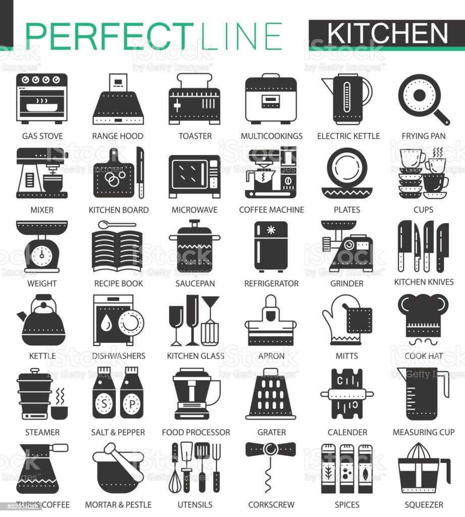 Kochen Und Küche Klassisch Schwarzen Minikonzeptsymbole Moderne Ikone  Piktogramm Illustrationen Kochset Vektor Stock Vektor Art und mehr Bilder  von