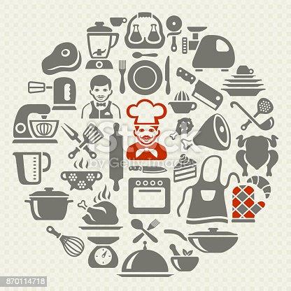 Yemek ve mutfak kolaj stok vekt r sanat a nin daha for Equipo para chef
