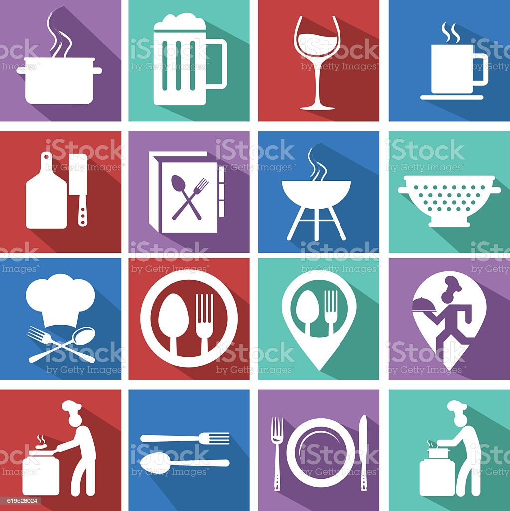 Cooking and kitchen icons on colorful backgrounds vector art illustration