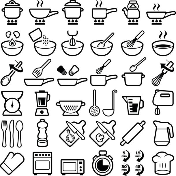 Cooking and kitchen icons Cooking and kitchen icon collection - vector outline cooking icons stock illustrations
