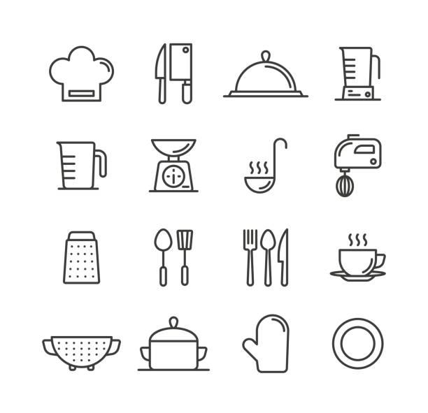 Cooking and Kitchen Icons Cooking and Kitchen Icons cooking icons stock illustrations