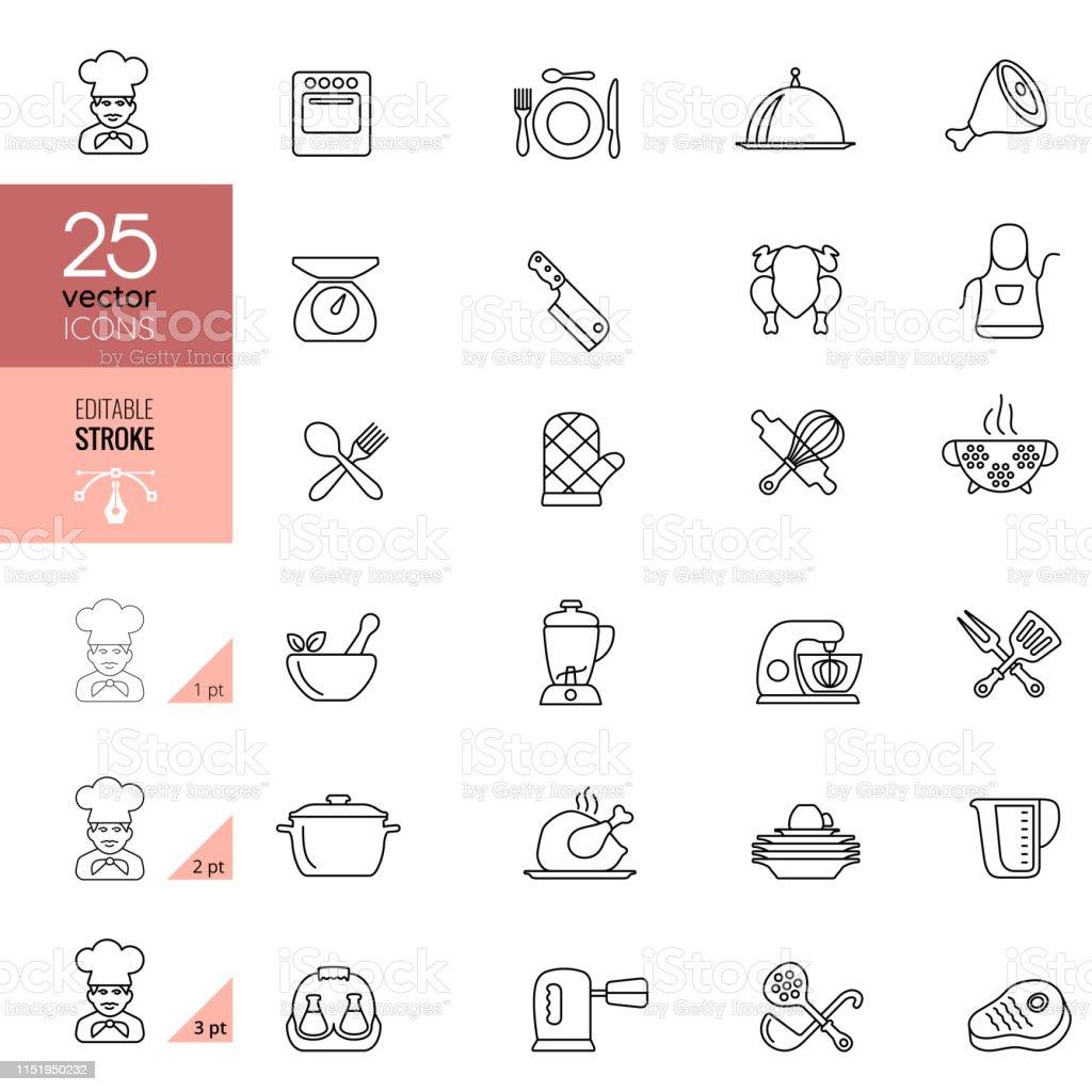 Matlagning och kök linje ikoner.  Redigerbar stroke. - Royaltyfri Bestick vektorgrafik