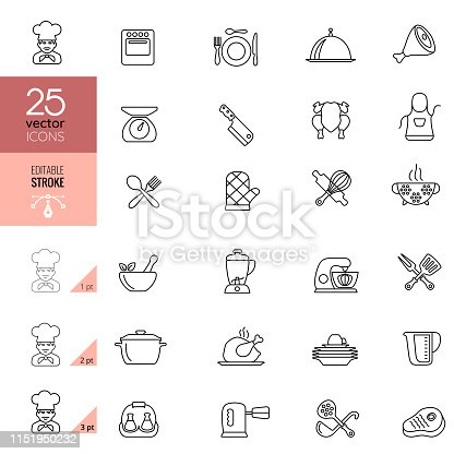 Cooking and Kitchen Line Icons.  Editable stroke.