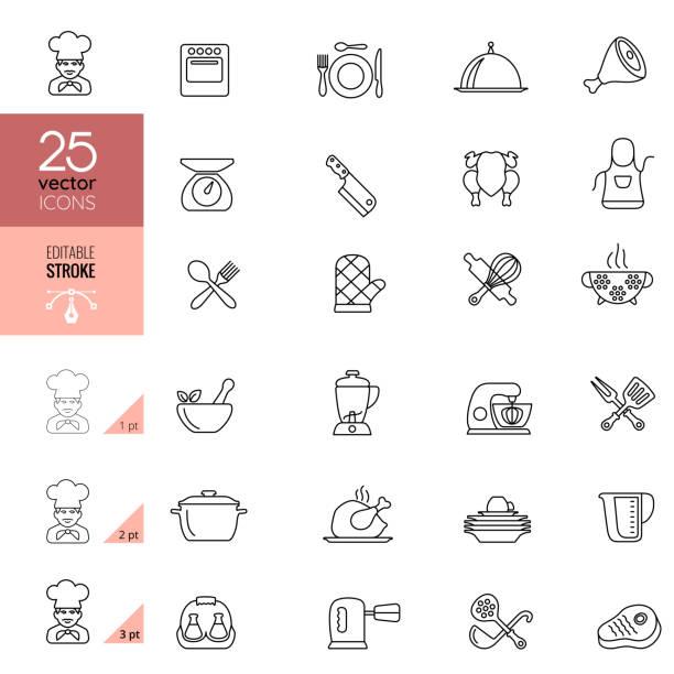 ilustrações de stock, clip art, desenhos animados e ícones de cooking and kitchen line icons.  editable stroke. - cooker happy
