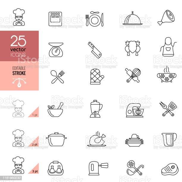 Matlagning Och Kök Linje Ikoner Redigerbar Stroke-vektorgrafik och fler bilder på Bestick