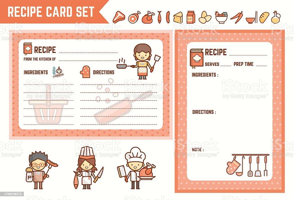 요리요 및 주방 Recipe 카드 세트 일러스트 478528070  iStock