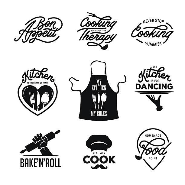 cooking and kitchen related quotes set. poster design elements. vintage - retroküchen stock-grafiken, -clipart, -cartoons und -symbole