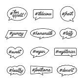 Cooking and kitchen related text with hashtags. Lettering quotes in bubbles. Trendy wall art calligraphy. Delicious labels set. Vector illustration.
