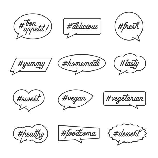 stockillustraties, clipart, cartoons en iconen met koken en keuken gerelateerde tekstlabels met hashtags. vectorillustratie. - eetklaar