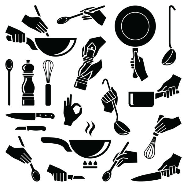 Cooking and kitchen tool Cooking and kitchen tool with hand icon collection - vector silhouette illustration cooking silhouettes stock illustrations