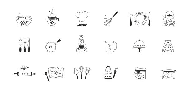 Cooking and kitchen utensils icons. Cooking and kitchen utensils icons. Hand drawn vector illustration. Scandinavian style. cooking drawings stock illustrations
