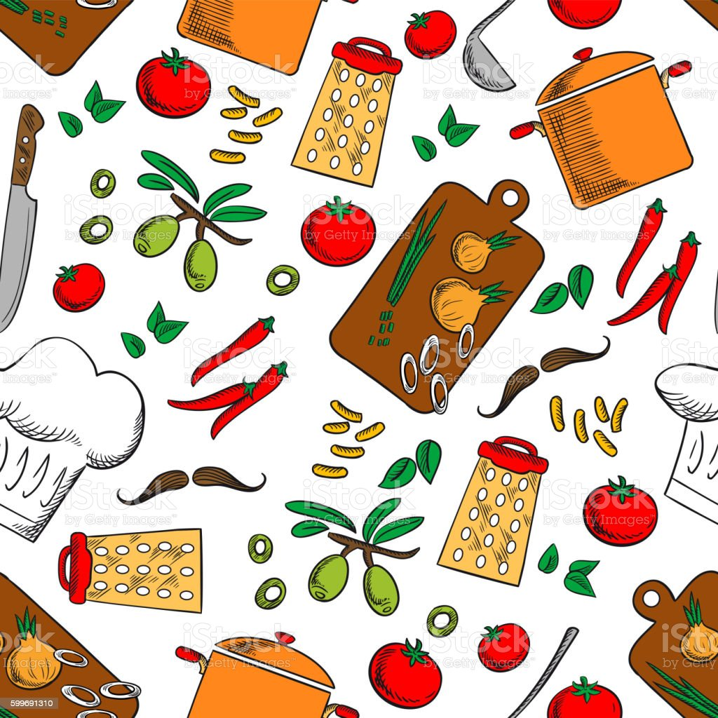 Kitchen Utensils Background: Cooking And Kitchen Utensils Seamless Background Stock