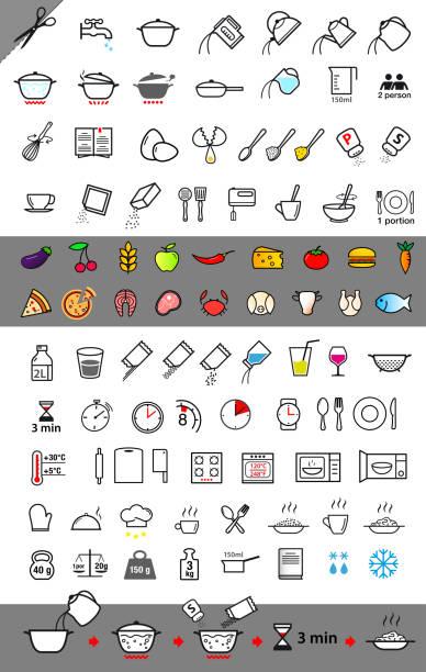 kochen und anweisungen. satz von zeichen für ausführliche leitlinie. - küchensystem stock-grafiken, -clipart, -cartoons und -symbole
