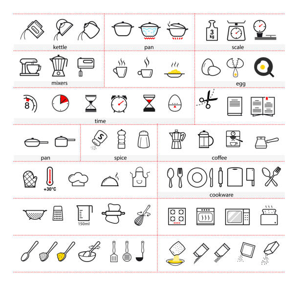 Cooking and preparation instructions. Set of sign for detailed guideline. Vector elements on a white background. Ready for your design. EPS10. cooking icons stock illustrations