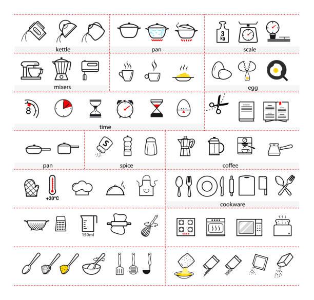 ilustrações de stock, clip art, desenhos animados e ícones de cooking and preparation instructions. set of sign for detailed guideline. - panela utensílio