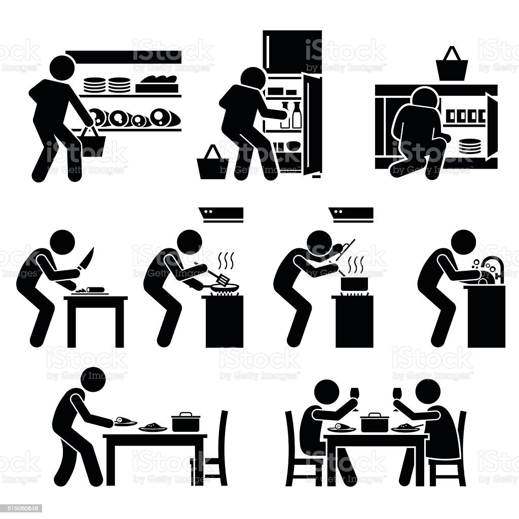 Cooking at Home and Preparing Food Pictogram vector art illustration