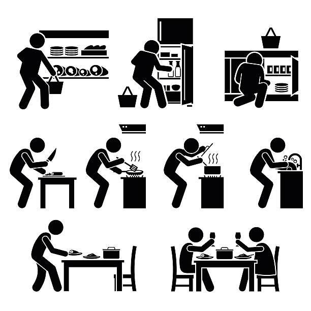 一緒にホームクッキング ピクトグラム と料理 - 楽しい 洗濯点のイラスト素材/クリップアート素材/マンガ素材/アイコン素材