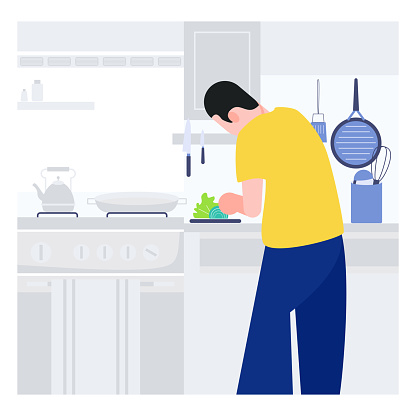 Cooking at home man cook in the kitchen. Stay at home concept
