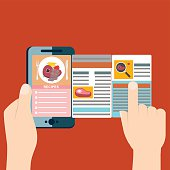 Cooking at home, searching recipes, culinary instructions in internet