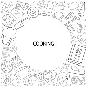 Cooking background from line icon. Linear vector pattern.