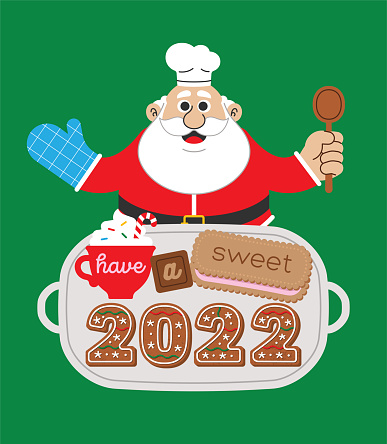 Cooking Baking Chef Santa Claus with 2022 Gingerbread Cookies New Year Meme Card