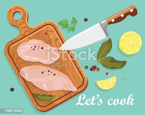 Cooking banner. Raw chicken fillet on wooden cutting board, kitchen knife, spices, lemon. Vector illustration of fresh meat in cartoon simple flat style.
